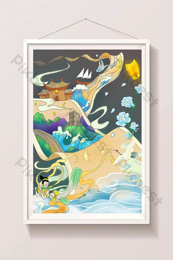 Yellow picture scroll landscape castle tower temple fairy crane chinese style illustration Illustration Template PSD
