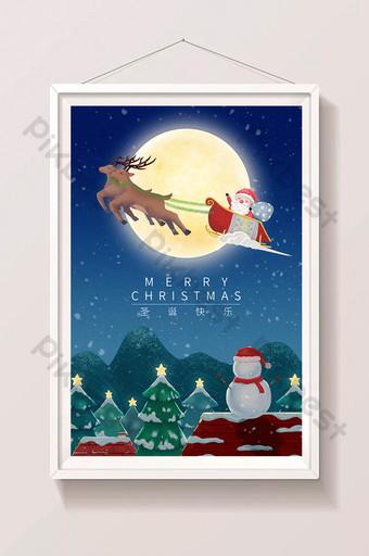 Nochebuena alces trineo santa ilustración Ilustración Modelo PSD