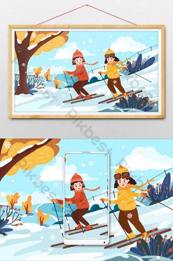 Dibujado a mano dibujos animados invierno amigas nieve montaña esquí ilustración Ilustración Modelo PSD