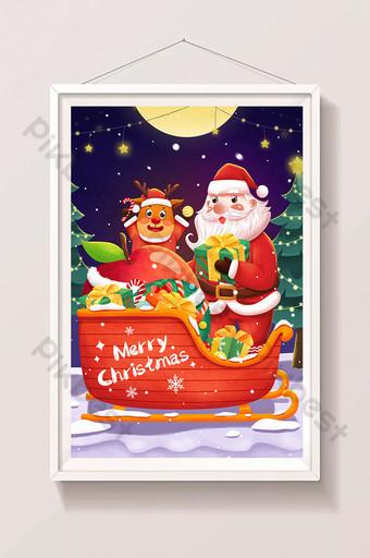 Nochebuena santa claus alces trineo coche regalo ilustración Ilustración Modelo PSD