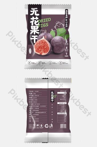 深色插圖幹無花果食品小吃包裝設計 模板 PSD