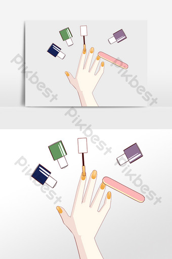 卡通指甲店上光 元素 模板 PSD