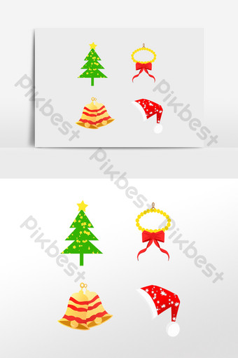 Pegatina silueta de sombrero de campana de árbol de navidad Elementos graficos Modelo PSD