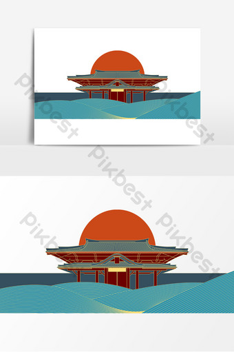 紫禁城皇帝矢量鍍金的地標建築陳武浙江 元素 模板 AI