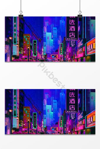 City night cyberpunk cool futuristic sense of technology background Backgrounds Template PSD
