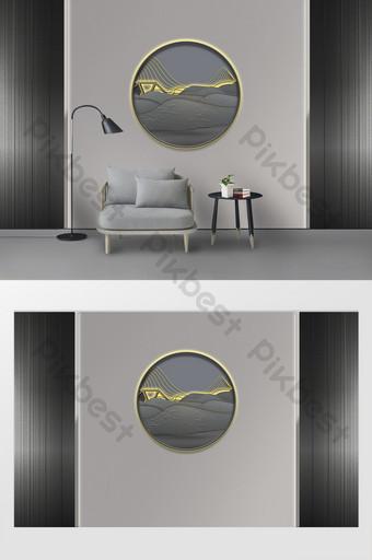 Nuevo estilo chino Zen como placa de roca redonda pared de fondo de pintura de paisaje luminoso Decoración y modelo Modelo PSD