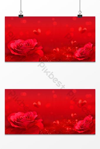 Hermoso mapa de fondo romántico de San Valentín de punto de flor rosa roja Fondos Modelo PSD