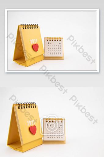 Carte de photographie de calendrier de bureau jaune 2021 La photographie Modèle JPG