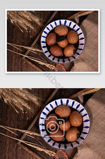 Carte de photographie de nourriture d'oeuf de thé La photographie Modèle JPG