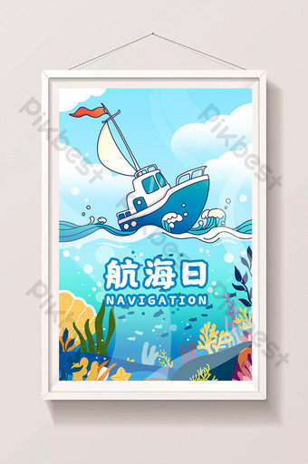 Nautical day voyage illustration poster Illustration Template PSD