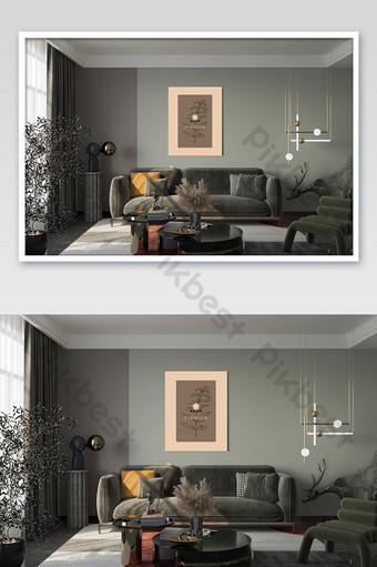 الحديثة الرائعة جو غرفة المعيشة أريكة خلفية الجدار الديكور اللوحة بالحجم الطبيعي قالب PSD