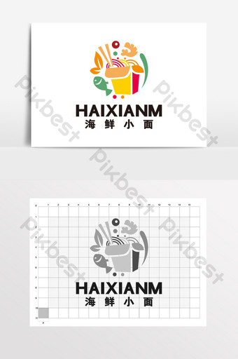 Seafood small noodle catering food stalls LOGO logo VI Template CDR