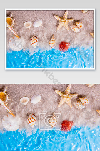 Big sea water pattern and shell photography Photo Template JPG