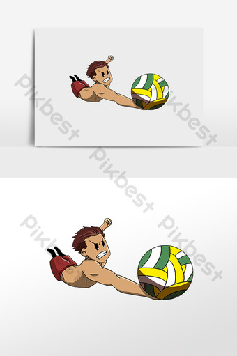 seaside sports play volleyball boy PNG Images Template PSD