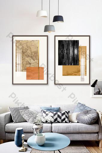الحديث الصينية بسيطة الخشب الجرافيت الحبر غرفة المعيشة الديكور اللوحة الديكور والنموذج قالب PSD