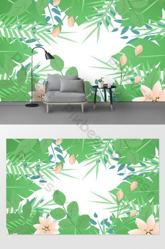 Patrón de papel pintado de planta verde Pequeño fondo fresco de pared Decoración y modelo Modelo PSD