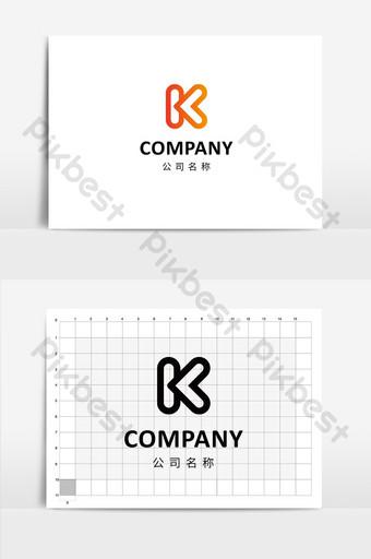 Gradiente naranja minimalista k letras logo Modelo AI