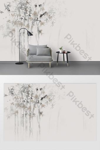 新的現代文學墨水竹抽象藝術性的概念背景牆壁 裝飾·模型 模板 PSD