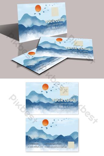 Blue Chinoise Ancienne Mountain Peinture Carte de visite simple Modèle PSD