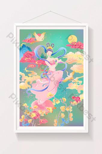 الطازجة Weimei Donhuang Art Flying Fronty Fairy Mo Grotto Xianhe Meihua الرسم التوضيحي قالب PSD