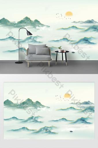 Nouveau mur moderne 鎏 金 山水 Mur d'arrière-plan Décoration et modèle Modèle PSD