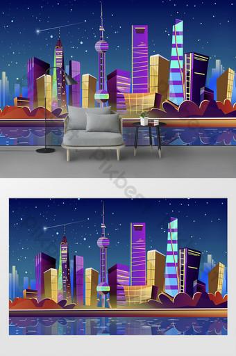Nouvelle scène de nuit de gradient de dessin animé moderne Shanghai City Wall Plan de montagne Décoration et modèle Modèle PSD