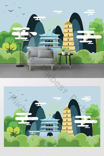 NOUVEAU Dessin animé moderne Xi Un gros plan d'oie sauvage pagoda horloge de ville Décoration et modèle Modèle PSD