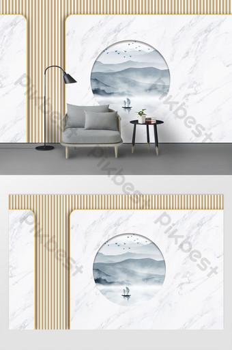 新的現代幾何線織地不很細水墨水山背景牆壁 裝飾·模型 模板 PSD