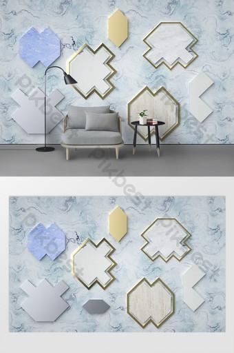 Mur d'arrière-plan de coutures multi-matériaux géométriques irréguliers bleu clair Décoration et modèle Modèle PSD