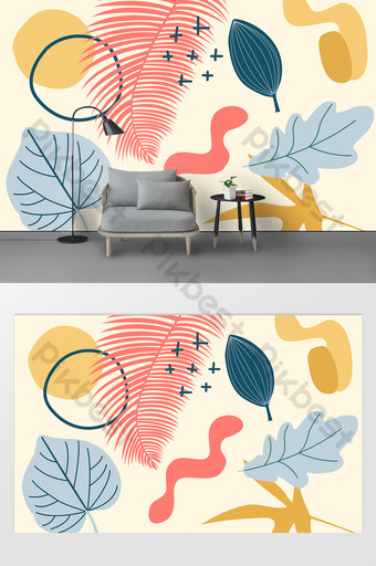Modern mode abstrak elemen estetika cetak dinding latar belakang Dekorasi dan model Templat PSD