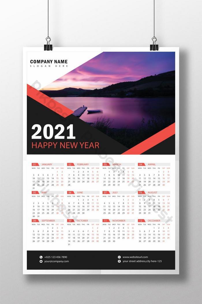 Templat desain kalender dinding 2021 | templat EPS Unduhan ...