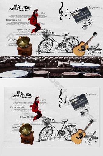 pared de fondo de herramientas de música rock dibujada a mano retro Decoración y modelo Modelo PSD