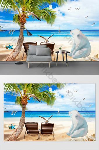 الشمال البحر الأبيض المتوسط شجرة جوز الهند التلفزيون خلفية الجدار الديكور والنموذج قالب PSD