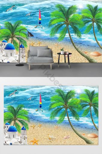الحد الأدنى الأوروبي شاطئ التلفزيون أريكة خلفية الجدار الديكور والنموذج قالب PSD