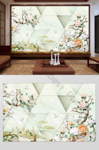 新中式大理石紋玉雕花客廳臥室背景牆 裝飾·模型 模板 PSD
