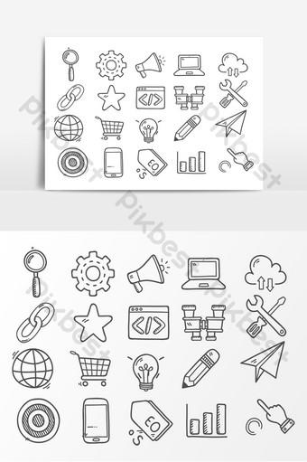 icono gráfico de vector de dibujos animados dibujados a mano con textura Elementos graficos Modelo PSD