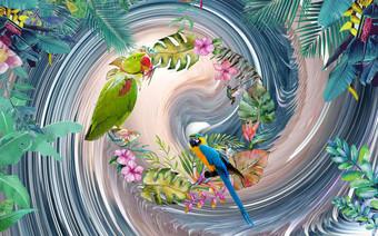 tanaman tropis nordic modern abstrak parrot garland latar belakang dinding Dekorasi dan model Templat PSD