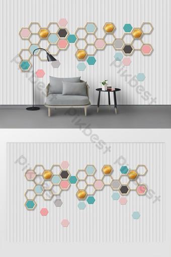 جديدة وبسيطة 3d ستيريو هندسية العسل الفن الحديد التلفزيون خلفية الجدار الديكور والنموذج قالب PSD