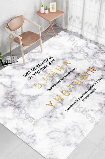 現代北歐簡約創意大理石紋理英式地毯圖案 裝飾·模型 模板 TIF
