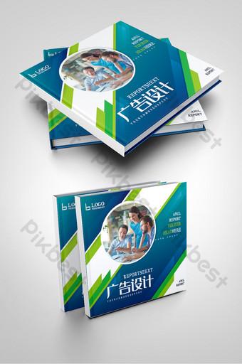 Couverture de la brochure d'entreprise de l'équipe de la société de conception de publicité de mode bleue Modèle AI