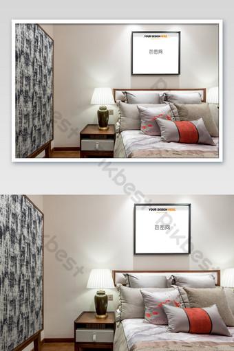 典雅輕奢中式黑框臥室壁畫壁畫海報樣機 模板 PSD