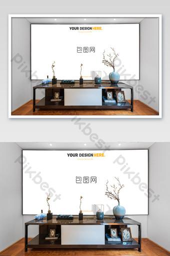 典雅新中式黑框臥室壁畫壁畫海報樣機 模板 PSD