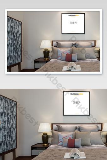 典雅低調中國房地產黑框臥室壁畫壁畫海報樣機 模板 PSD
