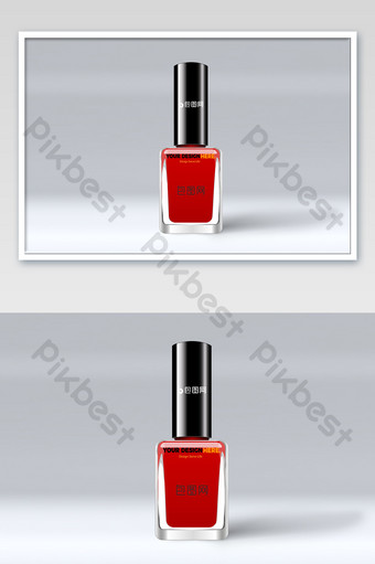 Maquette d'emballage de vernis à ongles rouge de pétales de fond de carte rose frais et agréable Modèle PSD