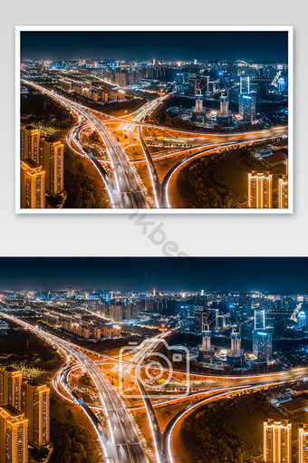 طريق مرتفع تصوير جوي واضح للغاية منظر ليلي لبناء جسر المدينة التصوير قالب JPG