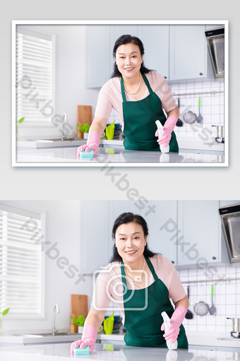 Kitchen housewife housekeeping service cleaning countertop hygiene Photo Template JPG