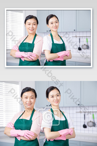 Housekeeping service cleaners are confident Photo Template JPG