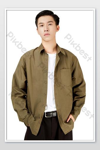 Automne et hiver vêtements hommes décontracté confortable armée chemise verte veste e commerce photo La photographie Modèle JPG