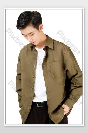 Vêtements d'automne et d'hiver pour hommes veste décontractée vert armée photos de commerce électronique La photographie Modèle JPG
