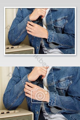 Vêtements d'automne et d'hiver Veste en jean pour homme Détails sur le commerce électronique Photos La photographie Modèle JPG